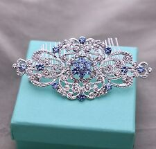Blue Diamond Crystal Bridal Vintage Wedding Hair Accessories Comb