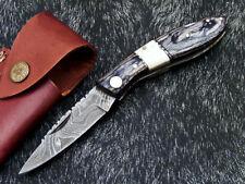 FABULOUS Custom Hand Forged Damascus Folding Pocket Knife - Back LOCK WD-8417