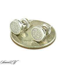 Real Sterling Silver 925 Micro Pave CZ 7mm Round Stud Earring For Mens Womens