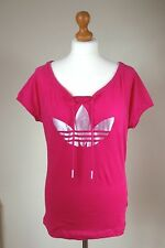 Adidas Size UK 10 US S Bright Pink Cotton T-shirt Loose Top Sleek Logo Pink Buzz
