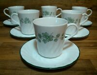 SET OF 6 - CORELLE COORDINATES CALLAWAY IVY SWIRL - COFFEE CUPS / MUGS & SAUCERS