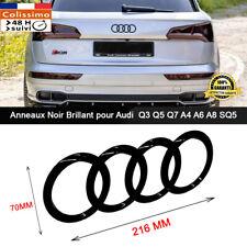 Anneaux noir Brillant Glossy Emblème Audi hayon Logo arrière Q3 Q5 Q7 A6  SQ5 -B