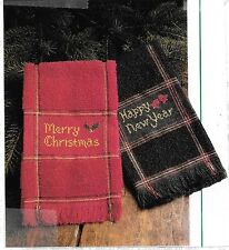 Merry Christmas & Happy New Year Holiday Towel Cross Stitch Patterns