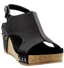 Corkys Carley Wedges Black faux Leather  Size 8