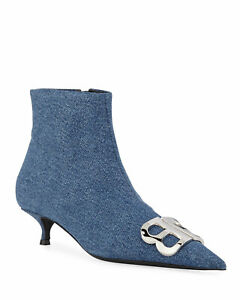 $1350 Balenciaga Boots Pointy Toe Denim  BB Silver Logo Ankle Booties 37 Boot