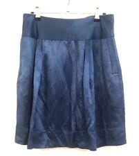 CUE womens metallic blue short linen skirt size 10 back buckle bow EUC #315