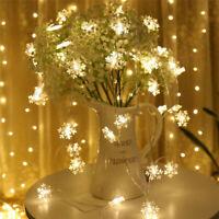 2/3M String Lights Snowflake LED Xmas Tree Christmas Party Home Warm Lamp Decor