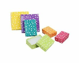 Lot of 12 24 50 Polka Dot Multi Color Cotton Filled Jewelry Packaging Gift Boxes