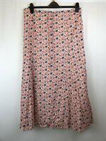Laura Ashley Weekend ladies maxi skirt orange floral cotton size 16 003