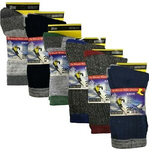 Mens Merino Wool Blend Warm Socks (2 x Pairs) Size 6-12 Thick Heavy Duty Work