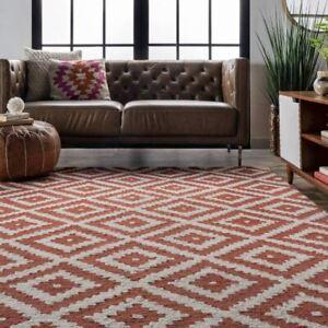 Diamond Trellis Rust Red Loop Hand-Tufted 100% Wool Soft Area Rug Carpet.