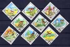 Chevaux Mongolie (24) série complète de 9 timbres oblitérés