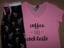 NWT PJ Salvage Black/Pink COFFEE TIL COCKTAILS Top/Pants Pajama Set S MARGARITA