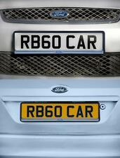 PAIR of Ford Number Plate Surround Holder Richbrook Black Plastic W/ Silver Lip