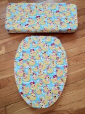 Girl's Rubber Duck Ducky Tiara Pink Bow Bath Elongated Toilet Seat Lid Cover Set