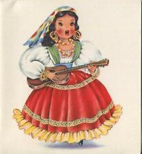 VINTAGE MEXICAN COSTUME GIRL DOLL GUITAR PINNATA 1 GIRLS NIGHT OUT DRESS UP CARD