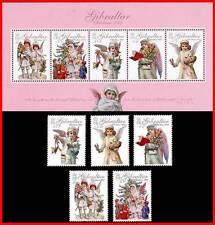 GIBRALTAR 2005 CHRISTMAS + S/S SC#1029-33 MNH CV$17.00 RELIGION ANGELS