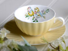 KATIE ALICE Bird Song SHABBY CHIC Yellow Fine China CUP & SAUCER