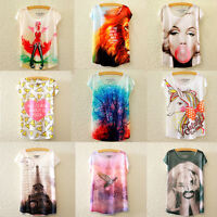 Fashion Women Ladies Summer Loose Tops Short Sleeve T Shirt Blouse Casual