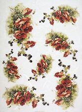 Rice Paper for Decoupage Decopatch Scrapbook Craft Sheet Vintage Poppy