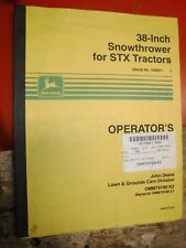 Up To 1991 John Deere 38 Inch Snowthrower For Stx Tractors Operators Manual