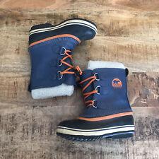 Sorel TP NY 1880-478 Kids Youth Blue Winter Waterproof Boots Size 1 Snow Orange