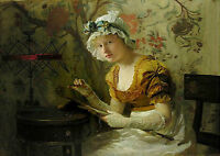 Beautiful Oil painting Charles Robert Leslie - Young lady sewing handpainted art