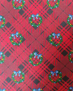 Brooks Brothers Red Plaid Christmas Wreath Silk Tie Italy USA Long Holiday