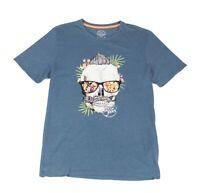 Jack & Jones Mens T-Shirt Blue Size 2XL Skull Graphic Front Crew Tee #045