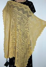 NWT Laura Ashley vintage 80's 100% cotton knit lace cobweb scarf, wrap - raffia