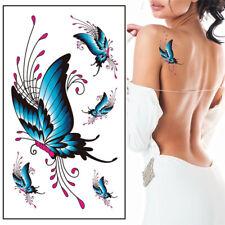 Flash Einmal Temporary Klebe Tattoo Schmetterling Blau Party Geschenk Strand Neu