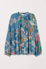 New H&M gp & j baker Patterned blouse shirt top Size us 12 blue