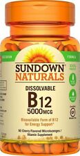Sundown Naturals Sublingual Vitamin B-12 5000 mcg 90 Tablets Energy Support NEW