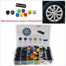 100Pcs 17mm Car Tyre Wheel Nut Bolt Screw Covers Caps Anti-Rust+5x Removal Tool