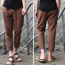 Fashion Men's Casual Loose Drawstring Waist Solid Linen Trousers Beach Pants