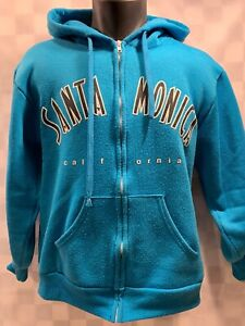 SANTA MONICA California Blue Zip Front Hooded Jacket Size S