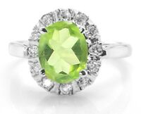 Oval Cut Green Peridot Sterling 925 Silver Ring Solitaire Size 5 6 7 8 9 10 11