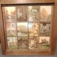 Vintage Homco Home Interior Window Pane Picture Rustic Fall Farmhouse B Mitchell