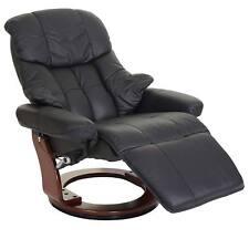 Relaxsessel Calgary 2 Fernsehsessel Leder schwarz Fuß Walnuss 8848