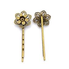 10pcs Antique Bronze Iron Bobby Pin Bases Findings Filigree Flower Slider 63mm