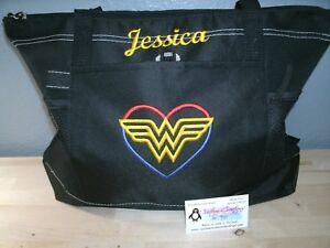 Wonder Woman Heart Sketch Personalized Tote Bag Superhero Tote