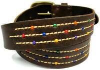 sz M 32 Fossil Western Brown Leather Belt Decorative Stitching Brass Buckle
