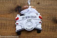 Personalised Family 1st christmas/xmas decoration - Wedding Car, newlyweds,