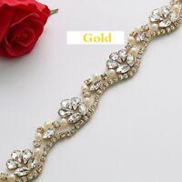 Rhinestone Crystal Applique Sewing Applique Trim  DIY Wedding Bridal Sash Belt