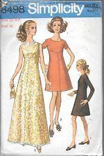 Vintage sewing pattern Simplicity 8498 ladies 12 evening dress round neck cut