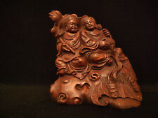 A Rare Chinese Antique Qing Dynasty Natural Bamboo Carved Figures Statue