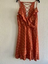 ORANGE WHITE POLKADOT DRESS UK 20 HOLIDAY BEACH SUMMER IBIZA MARBS FESTIVAL SUN