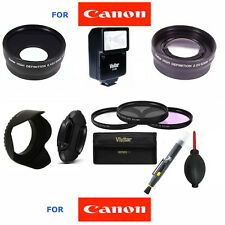 52MM WIDE ANGLE LENS + TELEPHOTO ZOOM LENS + FLASH + FILTER KIT FOR CANON EOS M3