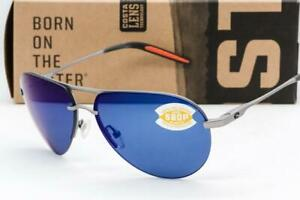 COSTA DEL MAR HELO SUNGLASSES Matte Silver / Blue Mirror 580P Polarized lens NEW