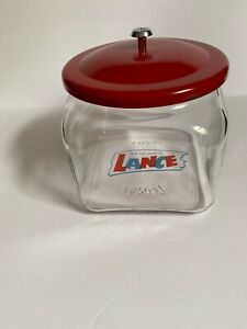 "Vintage Squatty Lance Display Jar Original Red Lid 7"""